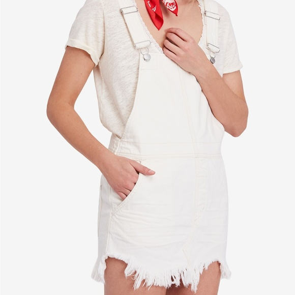 8af1b4c693a NWT Free People Cotton Ripped Overalls Dress